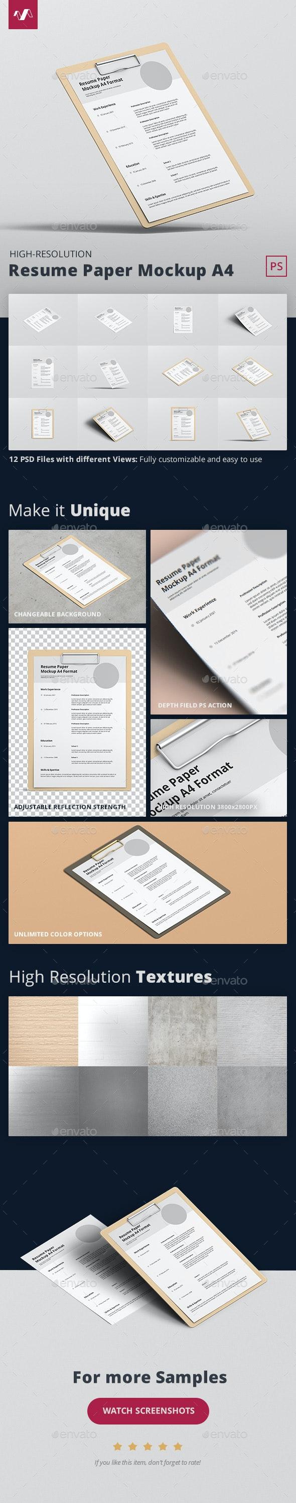 Resume Paper Mockup A4 - Stationery Print