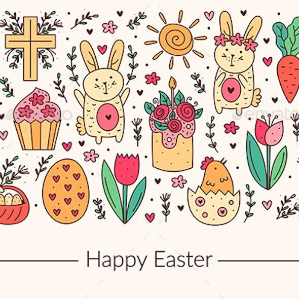 Happy Easter holiday doodle line art design. Rabbit, bunny, christian cross, cake, cupcake