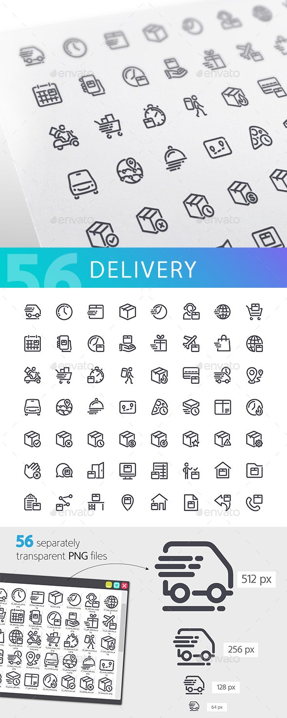 Delivery Line Icons Set - Business Icons