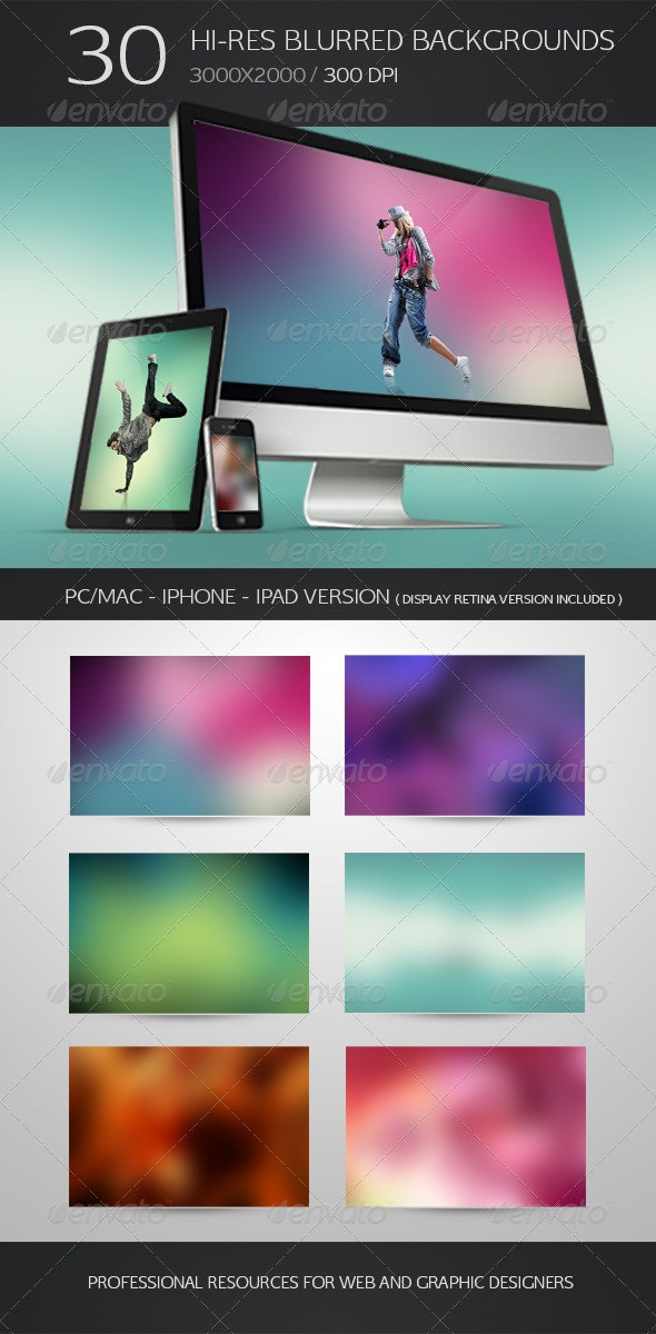 30 Hi-Res Blurred Backgrounds - Abstract Backgrounds