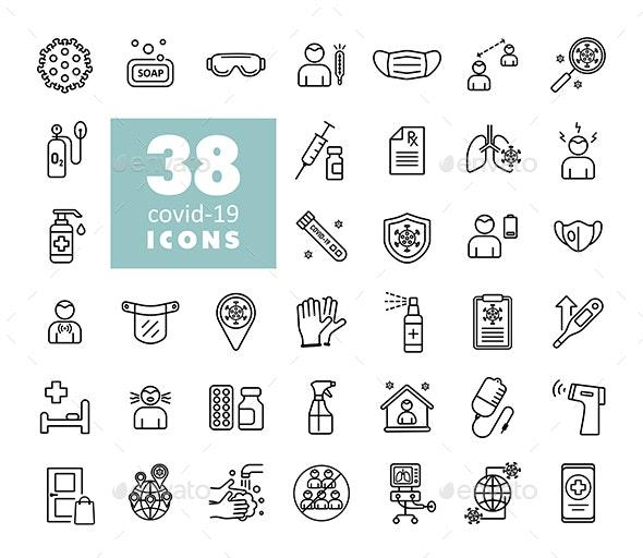 38 Set corona virus vector icons - Christmas Seasons/Holidays