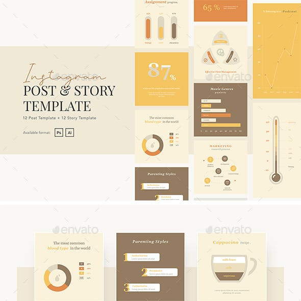 Warm and Fun Charts Graph Instagram Template