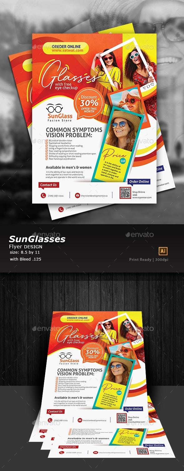 SunGlasses Fashion Store Flyer Template - Flyers Print Templates