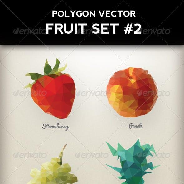 Polygon Triangular Vector Fruit Set #2