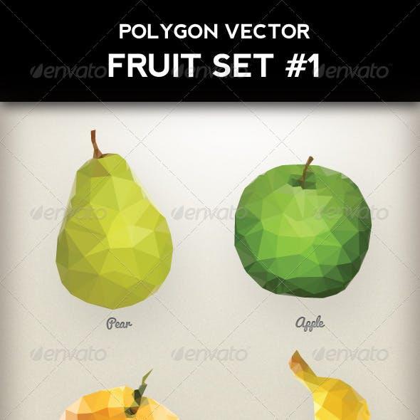 Polygon Triangular Vector Fruit Set #1