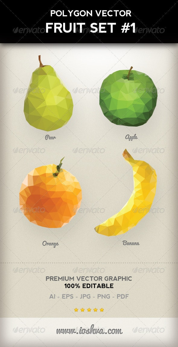 Polygon Triangular Vector Fruit Set #1 - Food Objects
