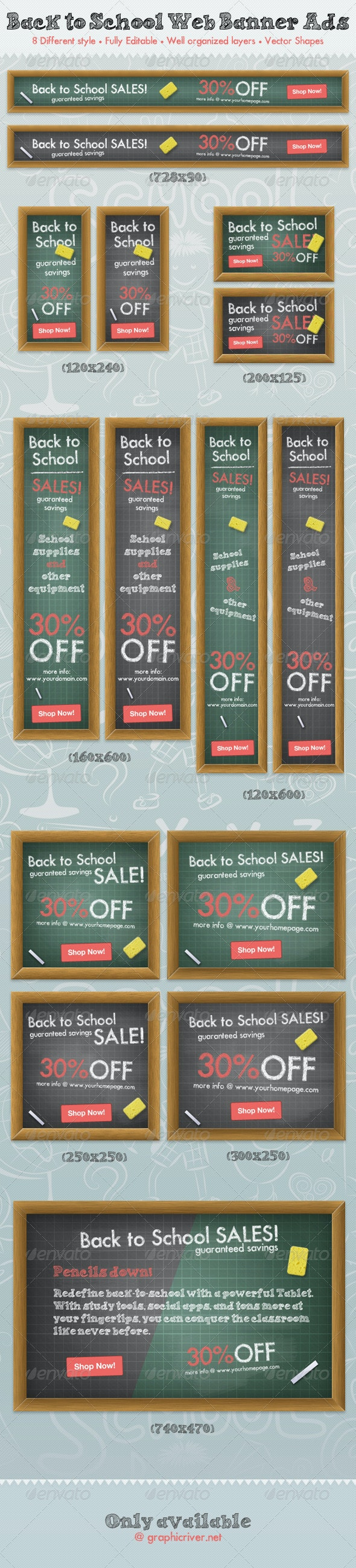 Back To School Web Banner Ads - Banners & Ads Web Elements