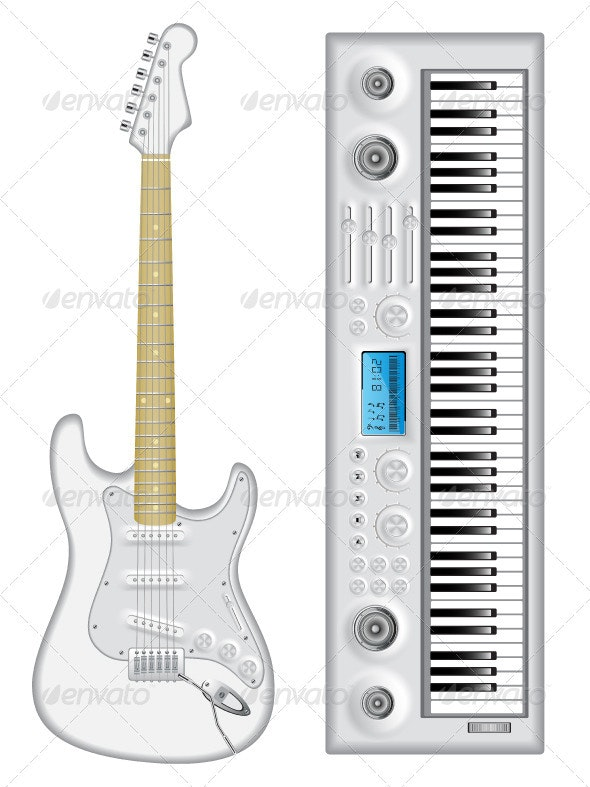 Isolated image of guitar and synthesizer - Man-made Objects Objects