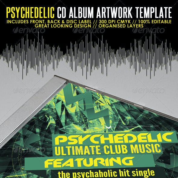 Psychedelic Mixtape CD Artwork PSD Template