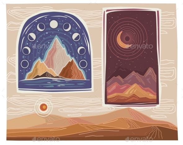 Set of Landscapes with Mountains - Abstract Conceptual