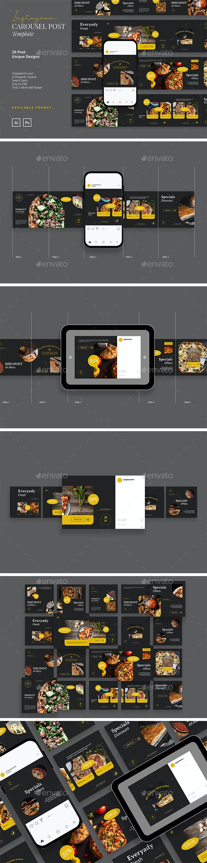 Deep Bold Healthy Food Instagram Carousel Template - Social Media Web Elements