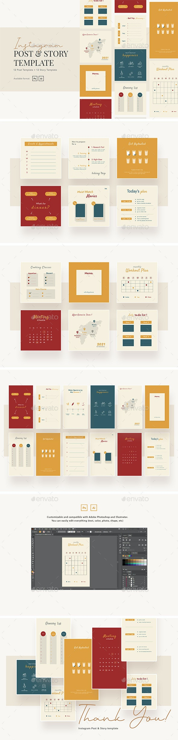 Creative Activity Planner Instagram Post and Story Template - Social Media Web Elements