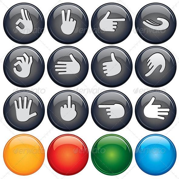 Button Hand Sign - Web Elements Vectors