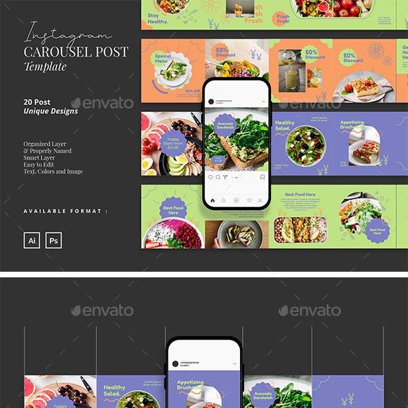 Healthy Food Carousel Instagram Post Template