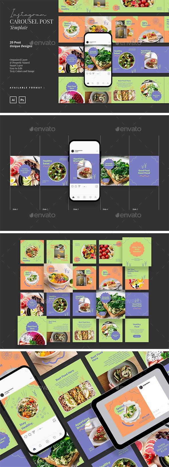 Healthy Food Carousel Instagram Post Template - Social Media Web Elements