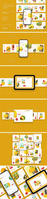 Fresh Food Ads Instagram Carousel Template - Social Media Web Elements