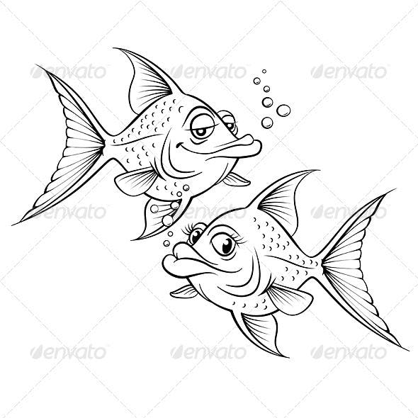Two drawing cartoon fish