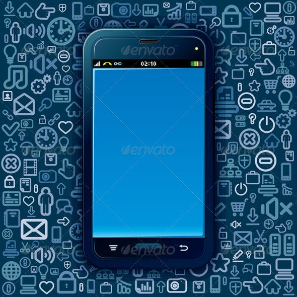 Smartphone on Tehnology Backdrop