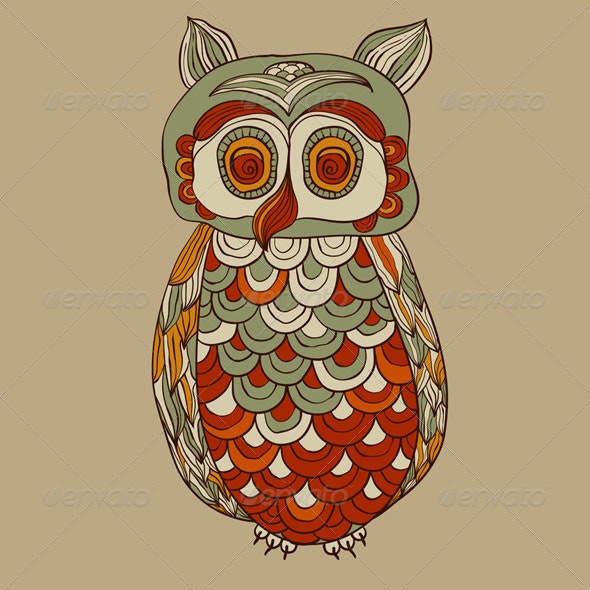 Vector Bizarre Funky Owl - Animals Characters