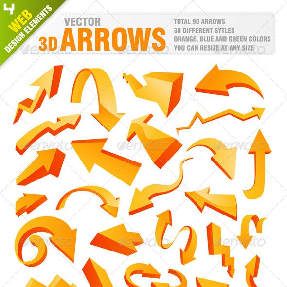90 Pieces 3D arrows