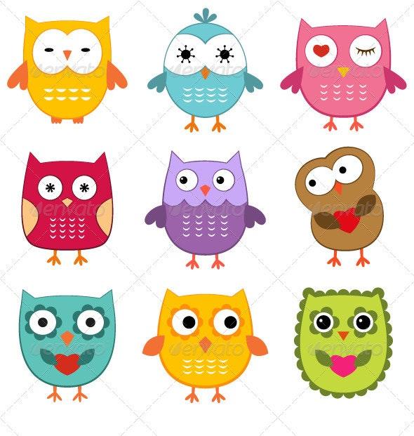 Cute owls set.  - Characters Vectors