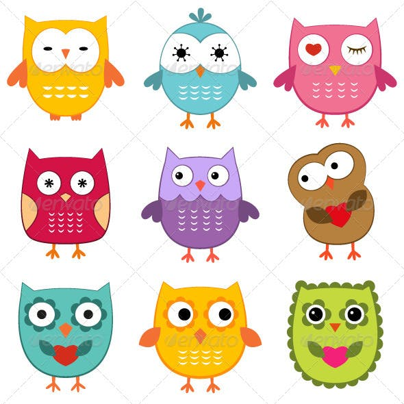 Cute owls set.