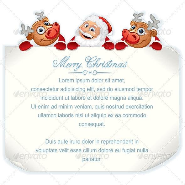 Cartoon Christmas Sign - Christmas Seasons/Holidays