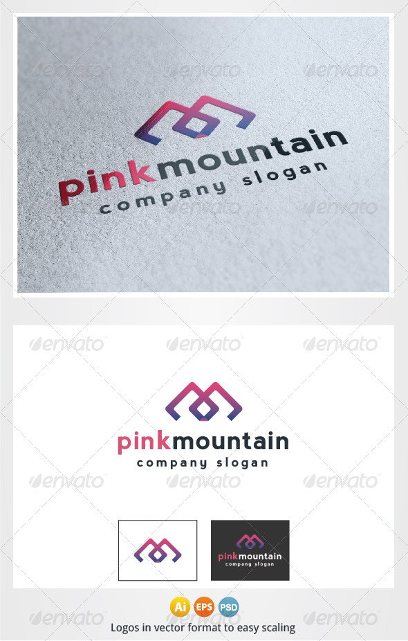 Pink Mountain Logo M Letter - Letters Logo Templates