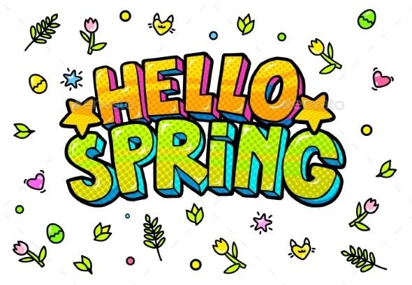 Hello Spring Word Bubble - Miscellaneous Vectors