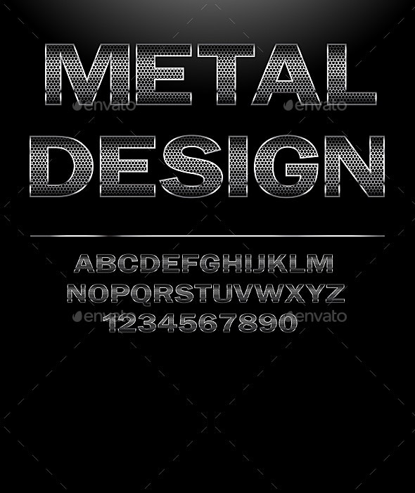 Chrome Steel grid Font Design - Web Elements Vectors