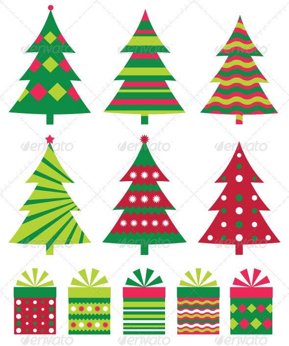 Christmas trees vector collection. - Christmas Seasons/Holidays