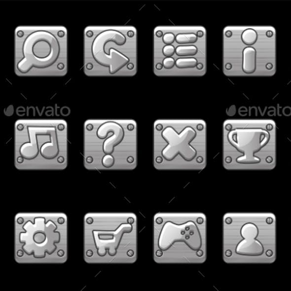 Square Metallic Gray Buttons for Game GUI