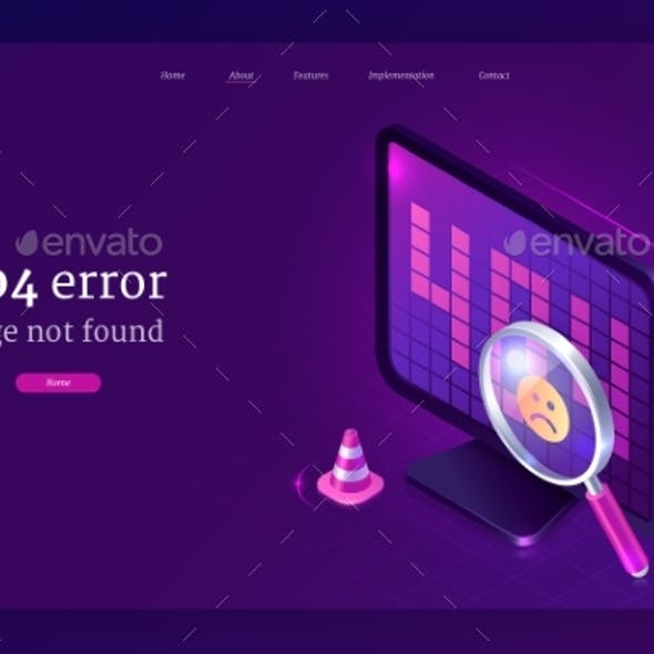 Vector Banner with 404 Error Page Not Found