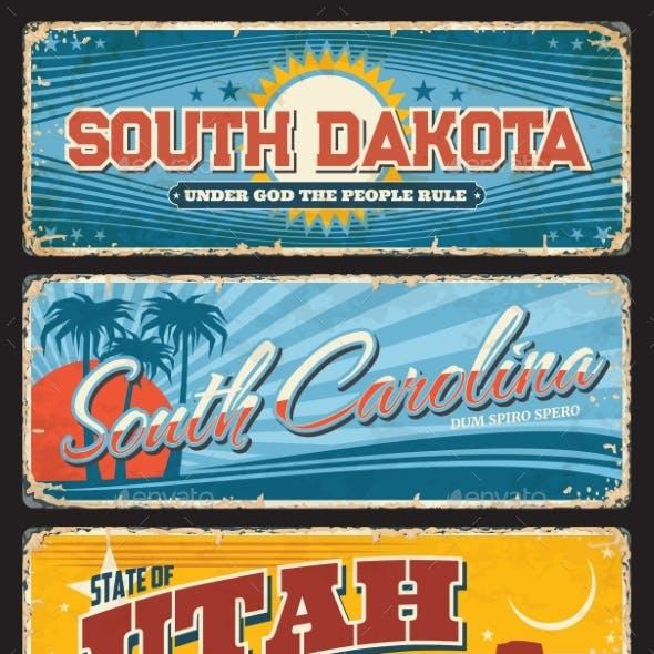 USA State South Dakota Carolina Utah Plate Signs