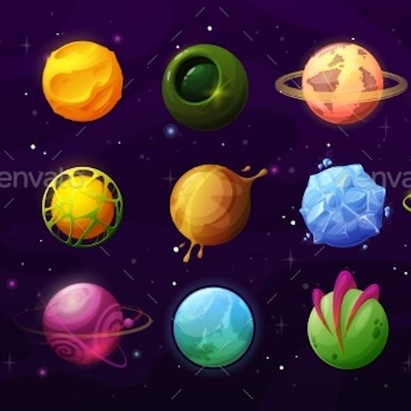 Fantastic Planets Cartoon Galaxy Ui Game Asteroids