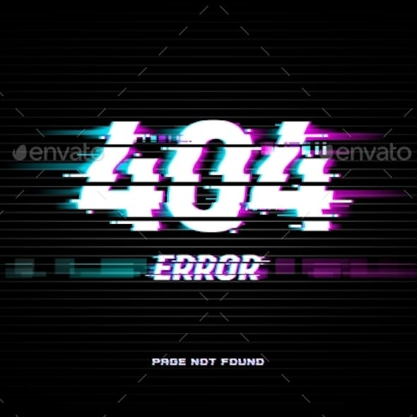 Page Not Found 404 Error Glitched Screen Vector