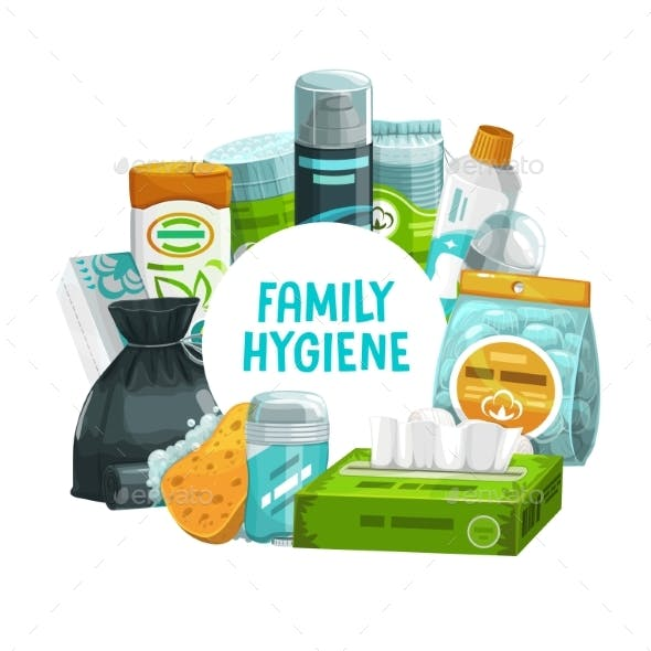 Family Hygiene and Body Care Products Round Frame