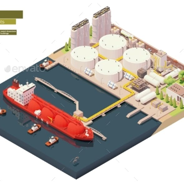 Isometric LNG Carrier Bunkering in LNG Terminal