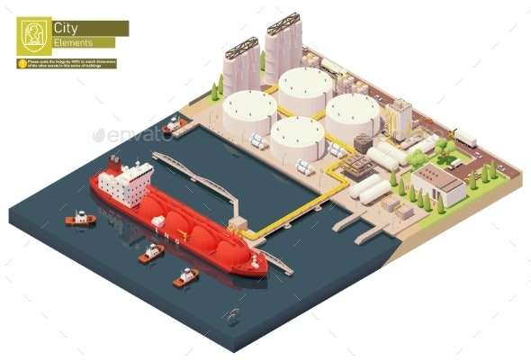 Isometric LNG Carrier Bunkering in LNG Terminal - Miscellaneous Illustrations