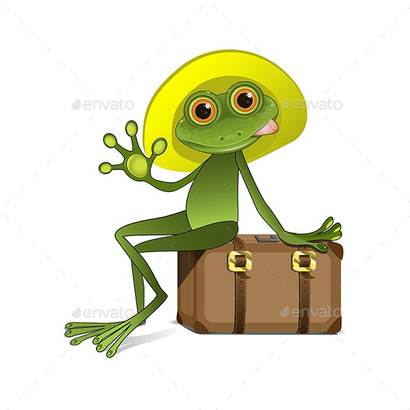 Stock Illustration of a Frog on a Suitcase - Animals Characters