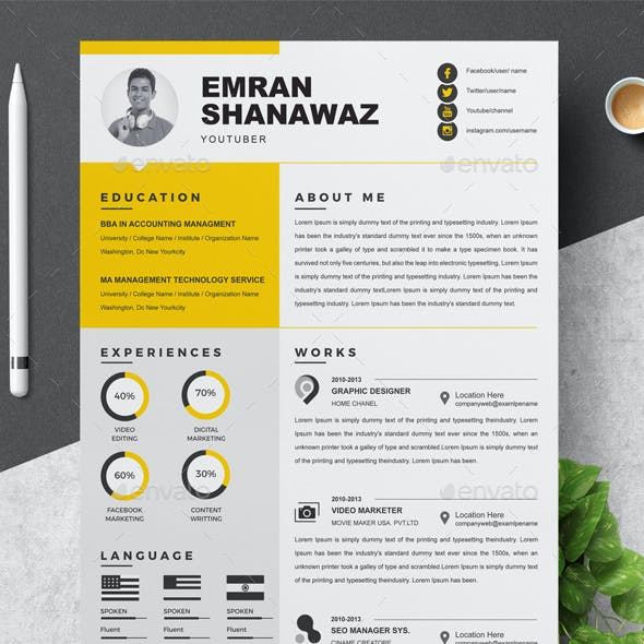 YouTuber Resume Template