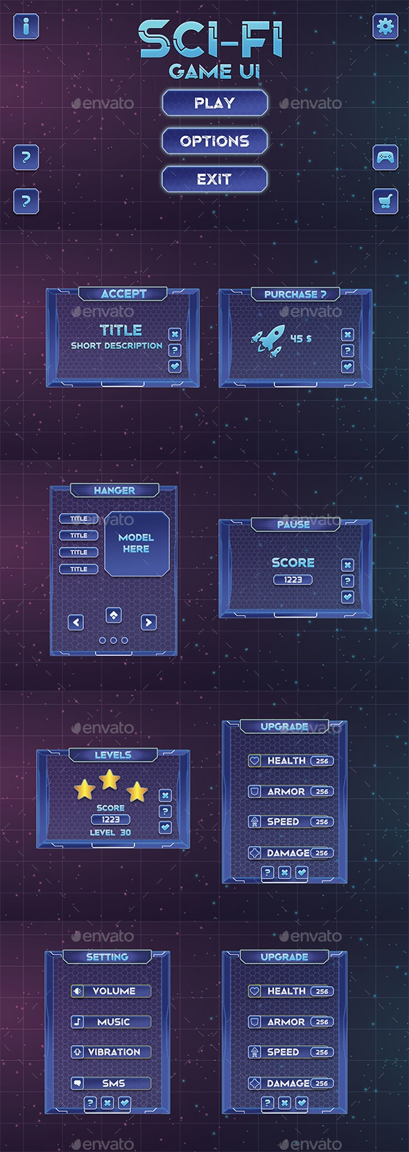 Sci-Fi-Game UI - User Interfaces Game Assets