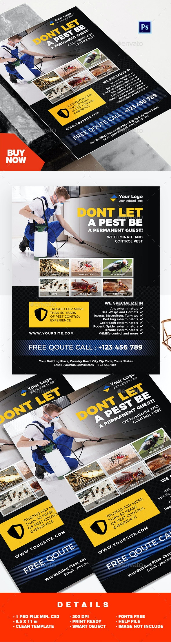 Professional Pest Control Services Flyer - Corporate Flyers