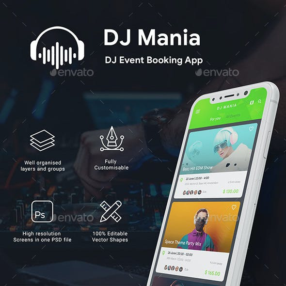 DJ Event Ticket Booking App UI Kit | DJ Mania