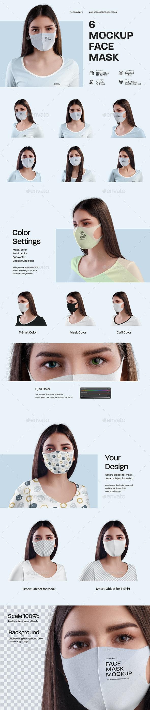6 Mockups Face Mask - Apparel Product Mock-Ups