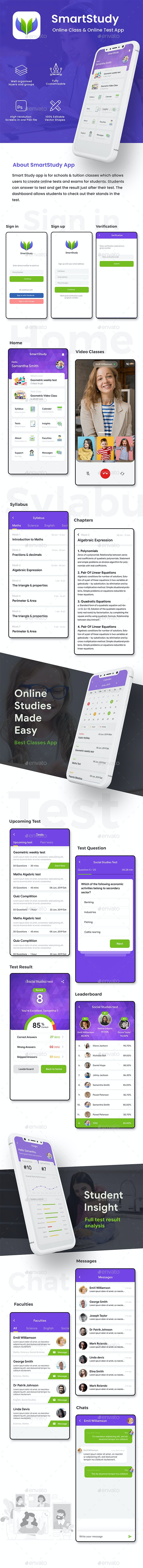 Online Exam for School & Academy App UI Kit | SmartStudy - User Interfaces Web Elements