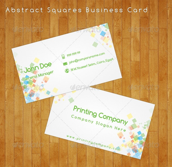 Abstract Squares Business Card - Corporate Business Cards