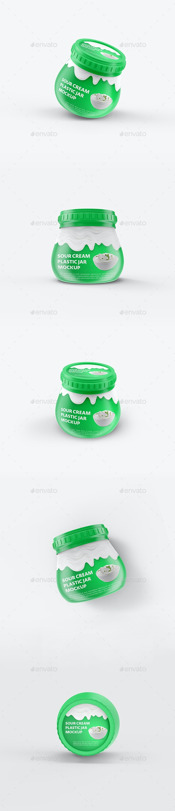 Sour Cream Plastic Jar Mockup - Food and Drink Packaging