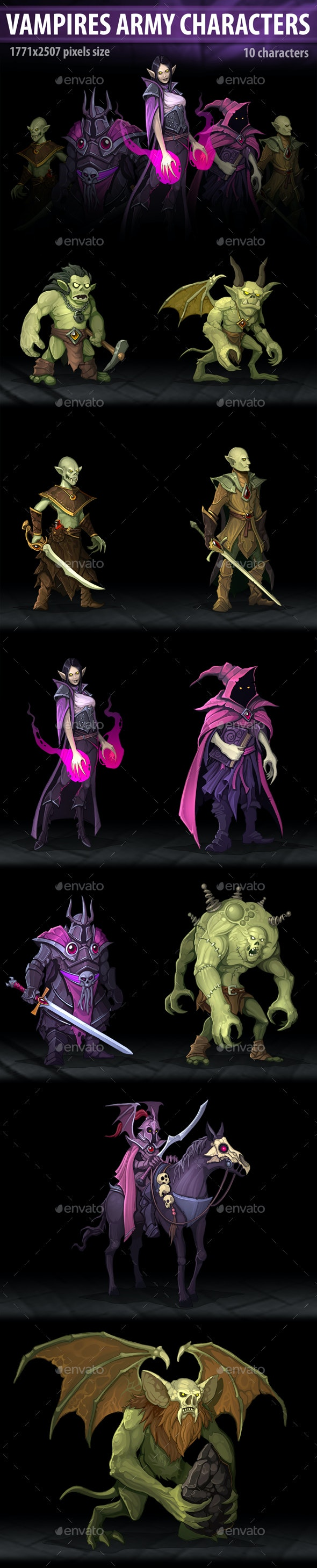Vampires Army Characters - Miscellaneous Game Assets