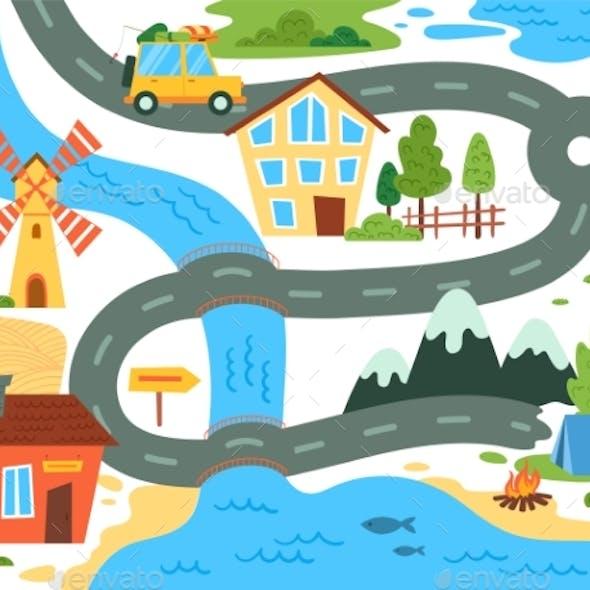 Roadtrip Map Family Vacation